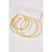 "Earrings 3 pair Metal Loop Mix Designs Gold/DZ **Gold** Loop Sizes-2"" & 3"" Wide,Earring Card & OPP Bag & UPC Code,3 pair per card,12 card= Dozen -"