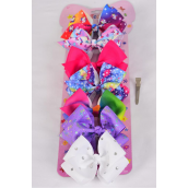 "Hair Bows Days Of The Week 7 Hair Bows 8 cm Dolphin Unicorn & Rainbnow Pattern Mix Grosgrain Bow-tie/PK **Alligator Clip** Size-3.5""x 3.5"" Wide,Display Card & UPC Code,7 pcs per card w 6 pack per card"