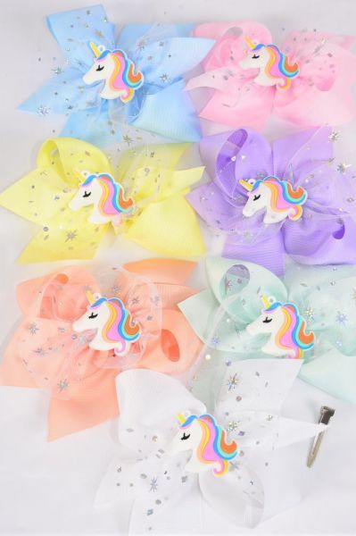 "Hair Bow Jumbo Double Layered Unicorn Charm Star Hologram Pastel Grosgrain Bow-tie/DZ **Pastel** Size-6""x 6"" Wide,Alligator Clip,2 White,2 Baby Pink,2 Lavender,2 Blue,2 Yellow,1 Peach,1 Mint Green,7 Color Asst,Clip Strip & UPC Code"