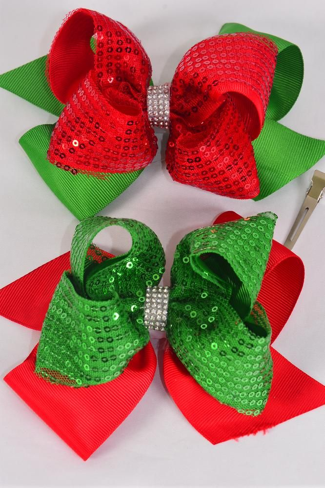 "Hair Bow Jumbo XMAS Sequin Double Layered Grosgrain Bow-tie/DZ **XMAS** Size-6""x 6"" Wide,Alligator Clip,6 of each Color Mix,Clip Strip & UPC Code"