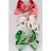 "Hair Bow Jumbo XMAS Double Layered Chiffon Fabric Gift Box Grosgrain Bowtie Red White Green Mix/DZ **Alligator Clip** Size-6""x 5"" Wide,4 of each Color Asst,Clip Strip & UPC Code"