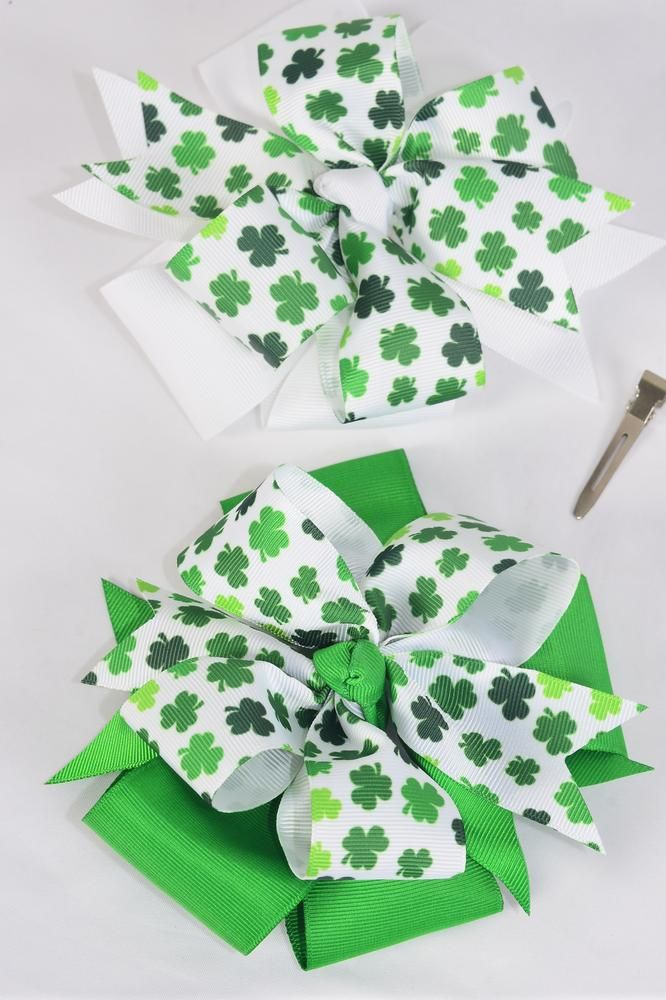 "Hair Bow Jumbo Shamrock Double Layered Bow Grosgrain Bow-tie/DZ **Alligator Clip** Size-6.5""x 6.5"" Wide,6 of each Color Asst,Clip Strip & UPC Code"