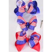 "Hair Bow Extra Jumbo Double Layered Patriotic-Flag Grosgrain Bowtie/DZ ** Alligator Clip** Bow-6""x 6"" Wide,4 of each Color Asst,Clip Strip & UPC Code"