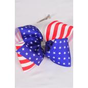 "Hair Bow Jumbo Cheer Type Bow Patriotic Stars & Stripes Grosgrain Bow-tie/DZ **Alligator Clip** Size-8""x 7"" Wide,Clip Strip & UPC Code"