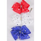 "Hair Bow Jumbo Patriotic-Stars Double Layered Metallic Silver Stars Grosgrain Bowtie Red White Green Mix/DZ **Alligator Clip** Size-6""x 6"" Wide,4 of each Color Asst,Clip Strip & UPC Code"