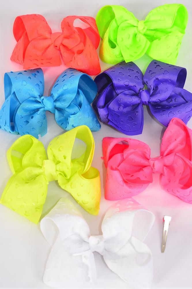 "Hair Bow Jumbo Double Layered Heart Caribbean Neon Grosgrain Bow-tie/DZ **Caribbean Neon** Alligator Clip,Size-6""x 5"" Wide,2 Turquoise,2 Orange,2 White,2 Purple,2 Pink,1 Yellow,1 Lime Mix,7 Color Asst,Clip Strip & UPC Code"