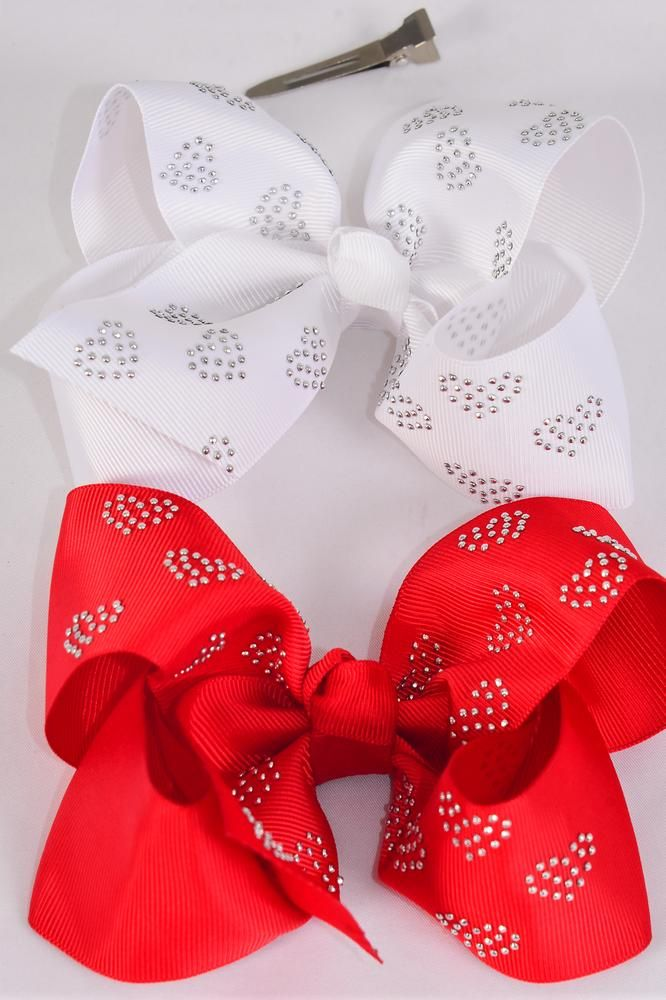 "Hair Bow Jumbo Heart Studded Red White Mix Grosgrain Bow-tie/DZ **Red White** Alligator Clip,Size-6""x 5"" Wide,6 of each Color Asst,Clip Strip & UPC Code"