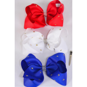 "Hair Bow Extra Jumbo Patriotic Gold Star Studded Red White  Royal Blue Mix Grosgrain Bow-tie/DZ **Alligator Clip** Size-6""x 5"" Wide,4 Red,4 White,4 Royal Blue Color Asst,Clip Strip & UPC Code"