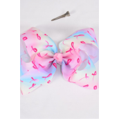 "Hair Bow Extra Jumbo Cheer Type Bow Tiedye Pink Ribbons Grosgrain Bow-tie/DZ **Alligator Clip** Size-8""x 7"" Wide,Clip Strip & UPC Code"