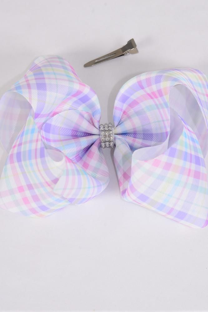 "Hair Bow Jumbo Cheer Type Bow Gingham Center Clear Stones Grosgrain Bow-tie/DZ **Alligator Clip** Size-8""x 7"" Wide,Clip Strip & UPC Code"