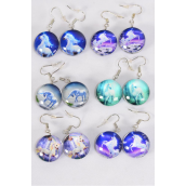 "Earrings Unicorn Double Sided Glass Dome/DZ match 70269 **Fish Hook** Size-0.75"" Wide,2 of each Design Asst,Earring Card & OPP Bag & UPC Code"