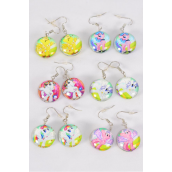 "Earrings Pony Double Sided Glass Dome/DZ match 70261 **Fish Hook** Size-0.75"" Wide,2 of each Design Asst,Earring Card & OPP Bag & UPC Code"