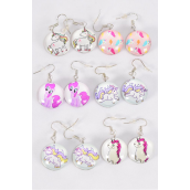 "Earrings Unicorn & Pony Double Sided Glass Dome/DZ match 70295 **Fish Hook** Size-0.75"" Wide,2 of each Pattern Asst,Earring Card & OPP Bag & UPC Code"