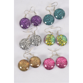 "Earrings Leopard Double Sided Glass Dome/DZ match 70253 **Fish Hook** Size-0.75"" Wide,2 of each Design Asst,Earring Card & OPP Bag & UPC Code"