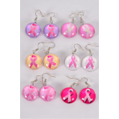 "Earrings Pink Ribbon Double Sided Glass Dome/DZ match 70290 **Fish Hook** Size-0.75"" Wide,3 of each Design Asst,Earring Card & OPP Bag & UPC Code"
