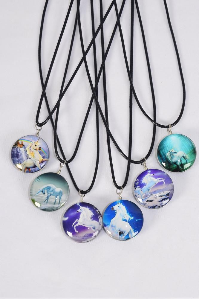 "Necklace Black Unicorn Double Sided Glass Dome/DZ match 03430 Pendant Size-1.25"" Wide,Necklace 18"" Long Extension Chain,2 of each Style Asst,Hang Tag & OPP Bag & UPC Code"