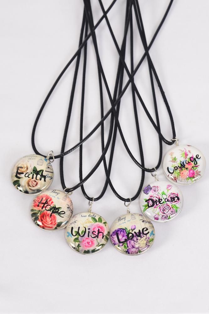 "Necklace Black Inspirational Double Sided Glass Dome/DZ match 03312 Pendant Size-1.25"" Wide,Necklace 18"" Long Extension Chain,2 of each Style Asst,Hang Tag & OPP Bag & UPC Code"