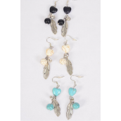 Earrings Metal Antique Feather & Hearts Semiprecious Stone/DZ **Fish Hook** 4 Black,4 Ivory,4 Turquoise Asst,Earring Card & OPP Bag & UPC Code -