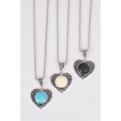 "Necklace Silver Chain Metal Antique Filigree Heart Semiprecious Stone/DZ Pendant-1.75"" x 1.5"" Wide,Chain-18"" Extension Chain,4 Ivory,4 Black,4 Turquoise Asst,Hang Tag & OPP Bag & UPC Code"