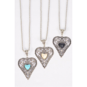 """Necklace Silver Chain Metal Antique Filigree Heart Semiprecious Stone/DZ Pendant-1.75"""" x 1.5"""" Wide,Chain-18"""" Extension Chain,4 Ivory,4 Black,4 Turquoise Asst,Hang Tag & OPP Bag & UPC Code"""