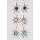 "Earrings Metal Antique Sun Semiprecious Stone/DZ **Fish Hook** Size-2"" Wide,4 Black,4 Ivory,4 Turquoise Asst,Earring Card & OPP Bag & UPC Code"