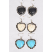 "Earrings Metal Antique Heart Semiprecious Stone/DZ match 70003 **Fish Hook** Size-1.25""x 1"" Wide,4 Black,4 Ivory,4 Turquoise Asst,Earring Card & OPP Bag & UPC Code"