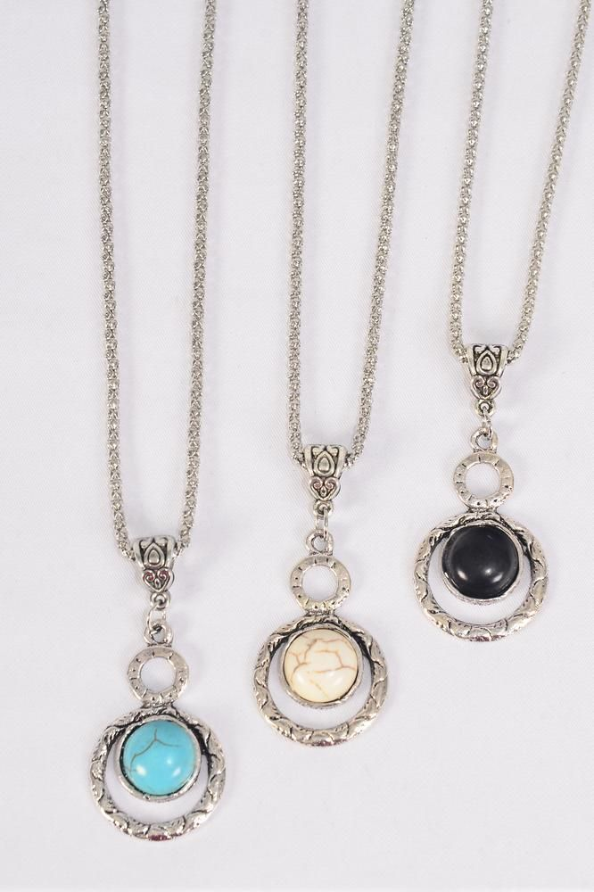 "Necklace Silver Chain Metal Antique Round Dangle Semiprecious Stone/DZ match 02972 Pendant-1.5"" x 1"" Wide,Chain-18"" Extension Chain,4 Ivory,4 Black,4 Turquoise Asst,Hang Tag & OPP Bag & UPC Code"