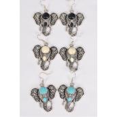 "Earrings Metal Antique Elephant Semiprecious Stone/DZ match 70010 25651 **Fish Hook** Size-125""x 1.25"" Wide,4 Black,4 Ivory,4 Turquoise Asst,Earring Card & OPP Bag & UPC Code -"