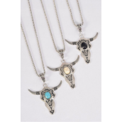 "Necklace Silver Chain Metal Antique Bull Head Semiprecious Stone/DZ match 03137 Pendant-1.75"" x 1.25"" Wide,Chain-18"" Extension Chain,4 Ivory,4 Black,4 Turquoise Asst,Hang Tag & OPP Bag & UPC Code"