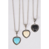 "Necklace Silver Chain Metal Antique Heart Semiprecious Stone/DZ match 02932 Pendant-1.25"" x 1"" Wide,Chain-18"" Extension Chain,4 Ivory,4 Black,4 Turquoise Asst,Hang Tag & OPP Bag & UPC Code"
