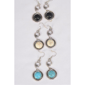 "Earrings Metal Antique Swirl Semiprecious Stone/DZ match 76015 **Fish Hook** Size-1.5""x 1"" Wide,4 Black,4 Ivory,4 Turquoise Asst,Earring Card & OPP Bag & UPC Code -"