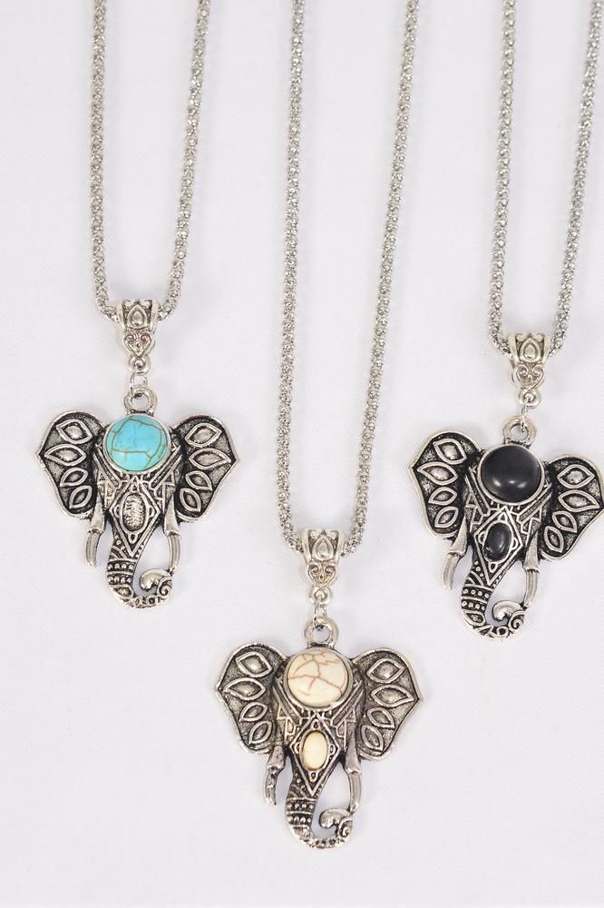 "Necklace Silver Chain Metal Antique Metal Elephant Head Pendant Semiprecious Stone/DZ match 03097 Pendant-1.75x 1.5"" Wide,Chain-18"" Extension Chain,4 Ivory,4 Black,4 Turquoise Asst,Hang Tag & OPP Bag & UPC Code"