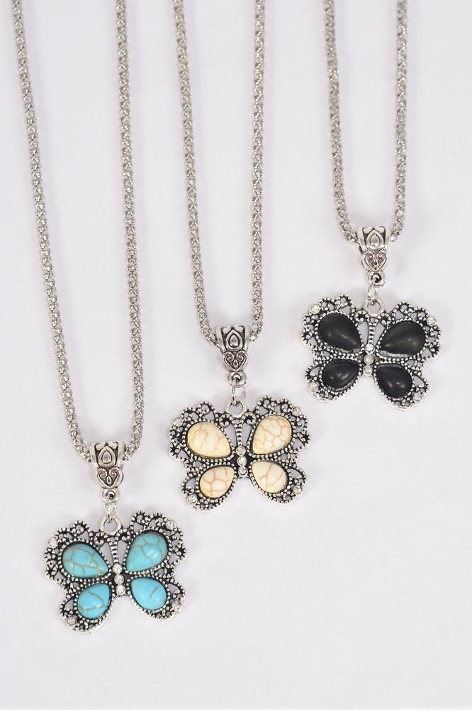 "Necklace Silver Chain Butterfly Semiprecious Stone/DZ Pendant-1.25"" x 1"" Wide,Chain-18"" Extension Chain,4 Ivory,4 Black,4 Turquoise Asst,Hang Tag & OPP Bag & UPC Code"