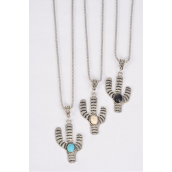 "Necklace Silver Chain Metal Antique Cactus Semiprecious Stone/DZ match 03135 Pendant-1.75"" x 1.25"" Wide,Chain-18"" Extension Chain,4 Ivory,4 Black,4 Turquoise Asst,Hang Tag & OPP Bag & UPC Code"