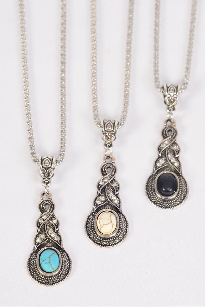 "Necklace Silver Chain Marcasite Pendant Semiprecious Stone/DZ match 02664 Pendant-1.5""x 0.75"",Chain-18"" Extension Chain,4 Of each Color Asst,Hang Tag & OPP Bag & UPC Code"