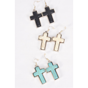 "Earrings Metal Antique Cross Semiprecious Stone/DZ match 75023 **Fish Hook** Size-1.25""x 1"" Wide,4 Black,4 Ivory,4 Turquoise Asst,Earring Card & OPP Bag & UPC Code"