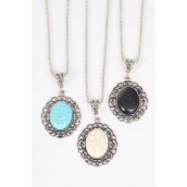 "Necklace Silver Chain Metal Antique Oval Semiprecious Stone/DZ Pendant-1.5"" x 1.25"" Wide,Chain-18"" Extension Chain,4 Ivory,4 Black,4 Turquoise Asst,Hang Tag & OPP Bag & UPC Code"