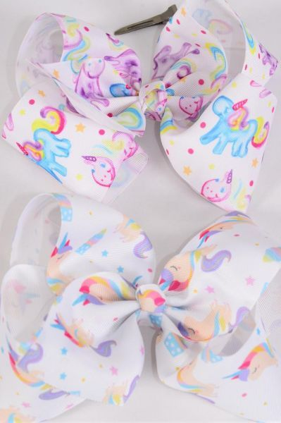 "Hair Bow Jumbo Cheer Type Bow Unicorn Mix Grosgrain Bow-tie/DZ **Alligator Clip** Size-8""x 7"" Wide,6 of each Style Asst,Clip Strip & UPC Code"