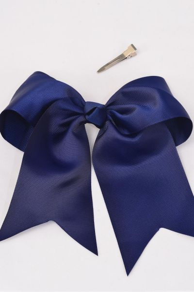 "Hair Bow Extra Jumbo Long Tail Navy Grosgrain Bow-tie/DZ **Navy** Alligator Clip,Size-6.5""x 6"",Clip Strip & UPC Code"
