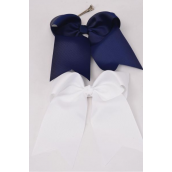 "Hair Bow Extra Jumbo Long Tail Navy & White Alligator Clip Grosgrain Bow-tie/DZ **Navy & White** Alligator Clip,Size-7""x 6"",6 Navy & 6 White Asst,Clip Strip & UPC Code"