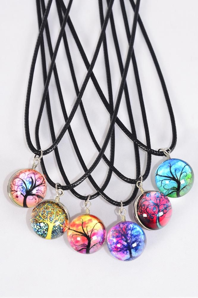 "Necklace Black Tree Of Life Double Sided Glass Globe Dome/DZ Pendant Size-1.25"" Wide,Necklace 18"" Long Extension Chain,2 of each Style Asst,Hang Tag & OPP Bag & UPC Code"