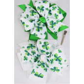"Hair Bow Jumbo 2 Tone Shamrock Double Layered Bow Grosgrain Bow-tie/DZ **Alligator Clip** Size-6.5""x 6.5"" Wide,6 of each Color Asst,Clip Strip & UPC Code"