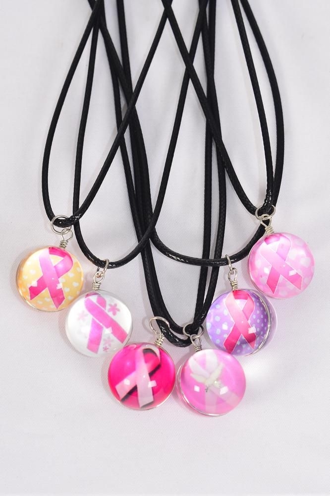 "Necklace Black Pink Ribbon Double Sided Glass Globe/DZ match 03442 Pendant Size-1.25"" Wide,Necklace 18"" Long Extension Chain,2 of each Style Asst,Hang Tag & OPP Bag & UPC Code"