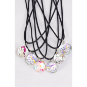 "Necklace Black Pony Double Sided Glass Globe Dome/DZ match 03447 Pendant Size-1.25"" Wide,Necklace 18"" Long Extension Chain,2 of each Style Asst,Hang Tag & OPP Bag & UPC Code"