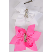 "Hair Bow Jumbo Pink Ribbon Alligator Clip/DZ **Alligator Clip** Size-6""x 6"" Wide,6 of each Color Asst,Clip Strip & UPC Code"