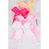 "Hair Bow Long Tail Double Layered Pink Ribbon Grosgrain Bowtie/DZ **Alligator Clip** Size-6"" x 6"" Wide,4 Hot Pink,4 Baby Pink,2 Beige,2 Whiter Mix,W Clip Strip & UPC Code"