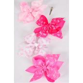 "Hair Bow Jumbo Pink Ribbon Alligator Clip/DZ **Alligator Clip** Size-6""x 6"" Wide,3 of each Color Asst,Clip Strip & UPC Code"