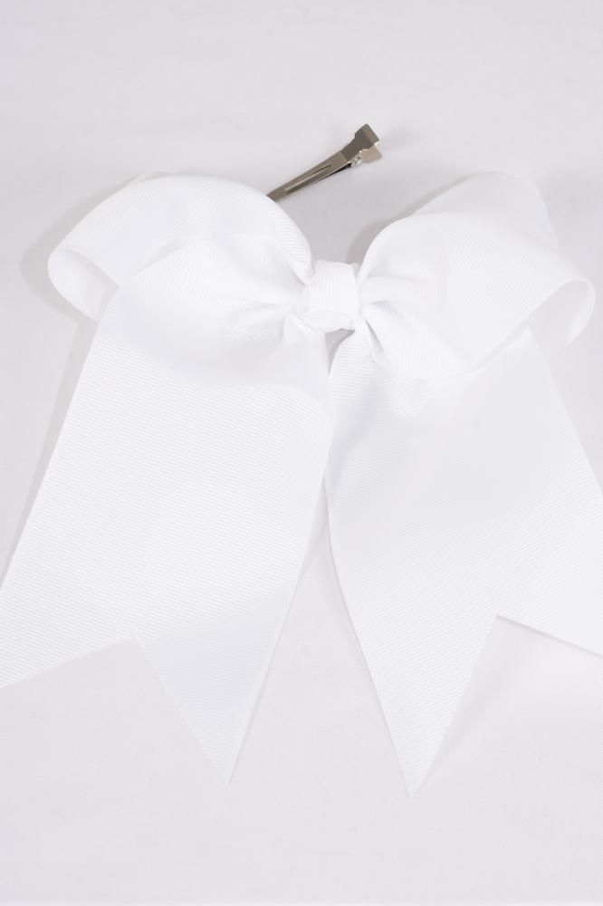 "Hair Bow Extra Jumbo Long Tail Cheer Type Bow  White Grosgrain Bow-tie/DZ **White** Alligator Clip,Size-6.5""x 6"",Clip Strip & UPC Code"