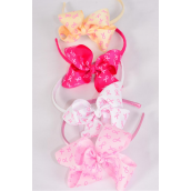 "Headbnd Horseshoe Pink Ribbons Grosgrain Bowtie/DZ Size-6""x 5"" Wide, 4 Hot Pink, 4 Baby Pink, 2 Beige, 2 White Asst,Individual Hang Tag & UPC Code, Clear Box"