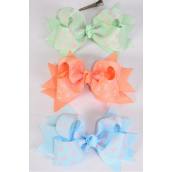 "Hair Bow Jumbo Double Layered Pink Ribbon Grosgrain Bowtie/DZ **Alligator Clip** Size-6"" x 5"" Wide,4 of each Color Asst,Clip Strip & UPC Code"
